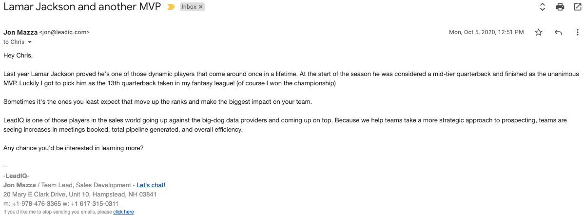 Example of Cold Email Personalization 3.0
