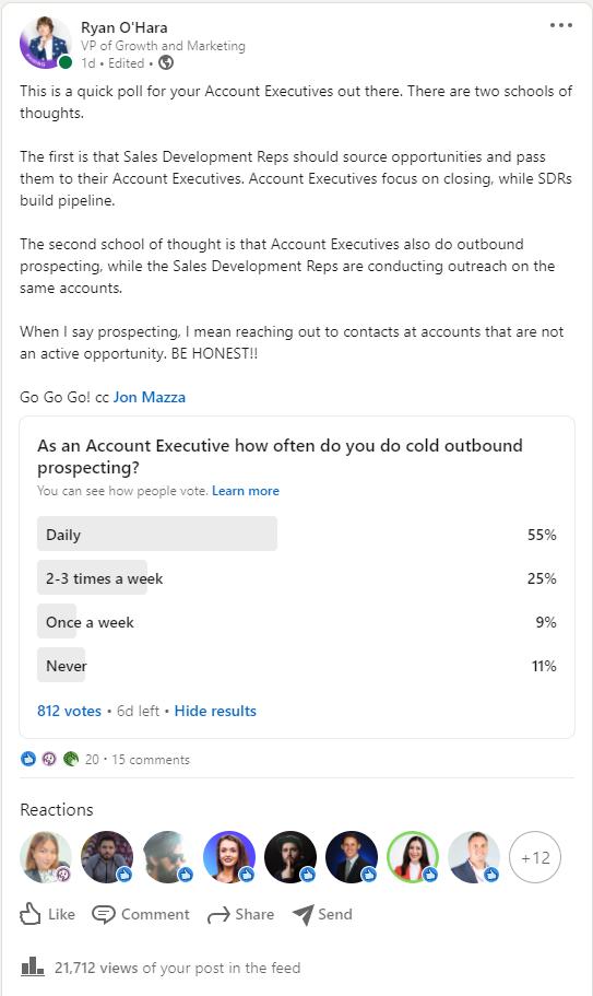 Screenshot of Ryan's LinkedIn AE Prospecting Poll